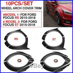 10X Primer Fender Flare Kit Wheel Arch Cover Trim For Ford Focus RS ST 2015-2018