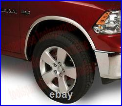 2017 2009 Dodge RAM 1500 CHROME STEEL Wheel Well Arch Fender Trim FLARE KIT
