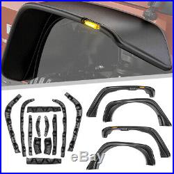 4Pcs Fender Flares Black Texture Kits For Jeep Wrangler JK Flat Style