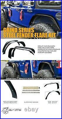 4Pcs Front & Rear Side Fender Flares Kit Steel for 2018-2021 Jeep Wrangler JL