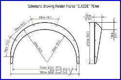 Datsun 1200 Fender flares kit JDM wheel arch Nissan Sunny Truck B120 70mm 4pcs