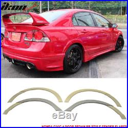 Fits Honda Civic Sedan 06-11 Front + Rear Fender Flare Unpainted ABS RR Style