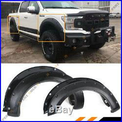 For 2018-19 Ford F150 Offroad Textured Black Pocket Style 4pc Fender Flares Kit