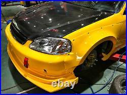 For Honda Civic EK9/4 Hatch Back MMStyle FRP Front Fender Vented Add on 2pcs Kit