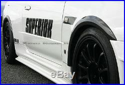 For Nissan GTR R34 Super-AC Style FRP Fiber Front & Rear Fender Flares Kits 4Pcs