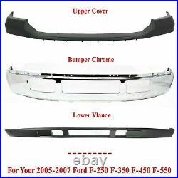 Front Bumper Chrome + Upper + Lower For 2005-2007 Ford F-250 F-350 Super Duty