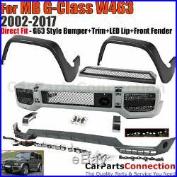 Front Bumper w Trim G63 Style G Class W463 02-17 Front Fender Flares Spoiler Lip
