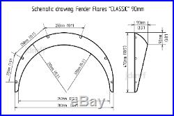 Honda del Sol Fender flares wide body kit wheel Arch Extensions 90mm 3.5 4pcs