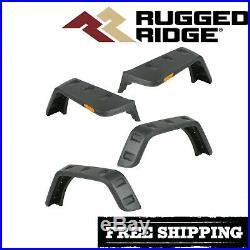Rugged Ridge Hurricane Flat Fender Flare Kit 2007-2018 Jeep Wrangler JK Smooth