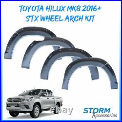 Stx Wheel Arch Kit Fender Flares Matt Black For Dcab Toyota Hilux Mk8 2016+