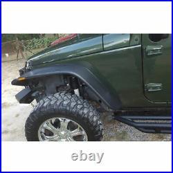 WOO Front Rear Flat Fender Flares Kits For 2007-2015 Jeep Wrangler JK 2/4 Door