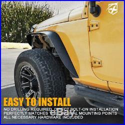 Xprite 4 Pack Front & Rear Fender Flares Kit for 2007-2018 Jeep Wrangler JK JKU
